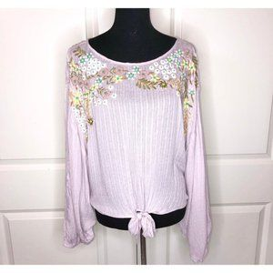 Free People Cropped Batwing Embroidered